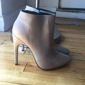 Grey heeled booties